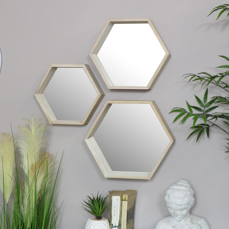 Wooden Hexagon Wall Shelves