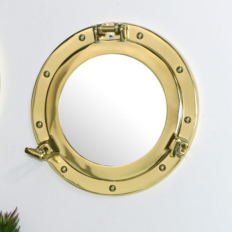 Brass Porthole Style Wall Mirror 28cm x 28cm
