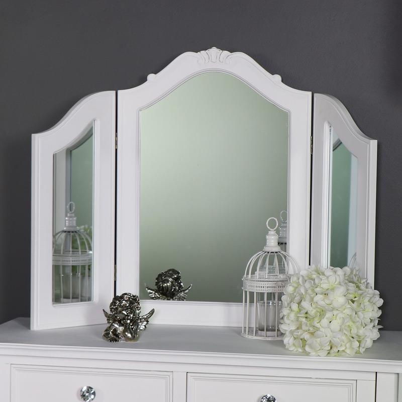 Ornate Triple Dressing Table Vanity Mirror - Elise White