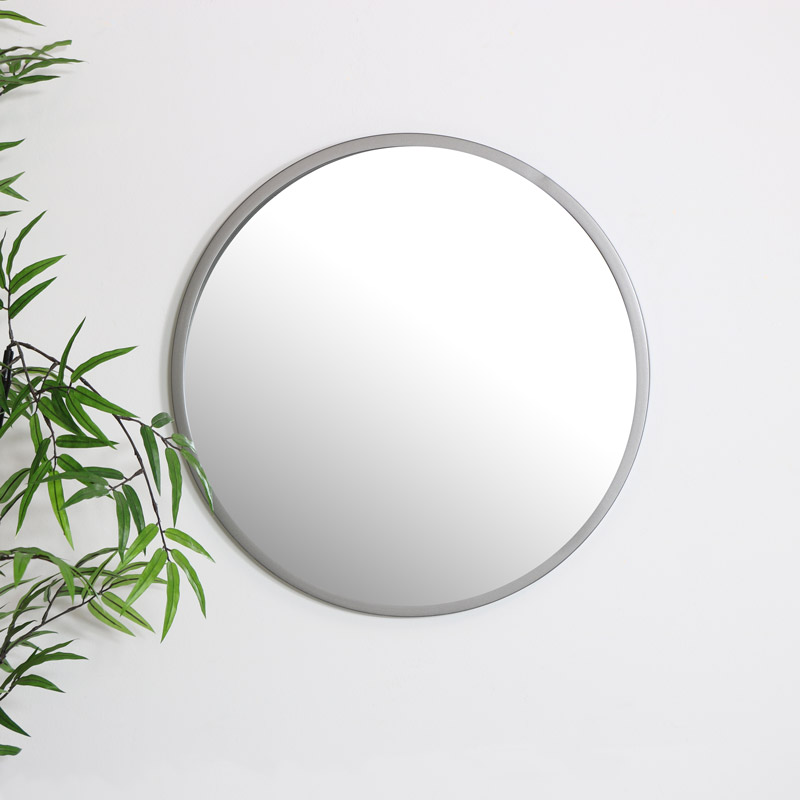 Round Silver Wall Mirror 50cm x 50cm