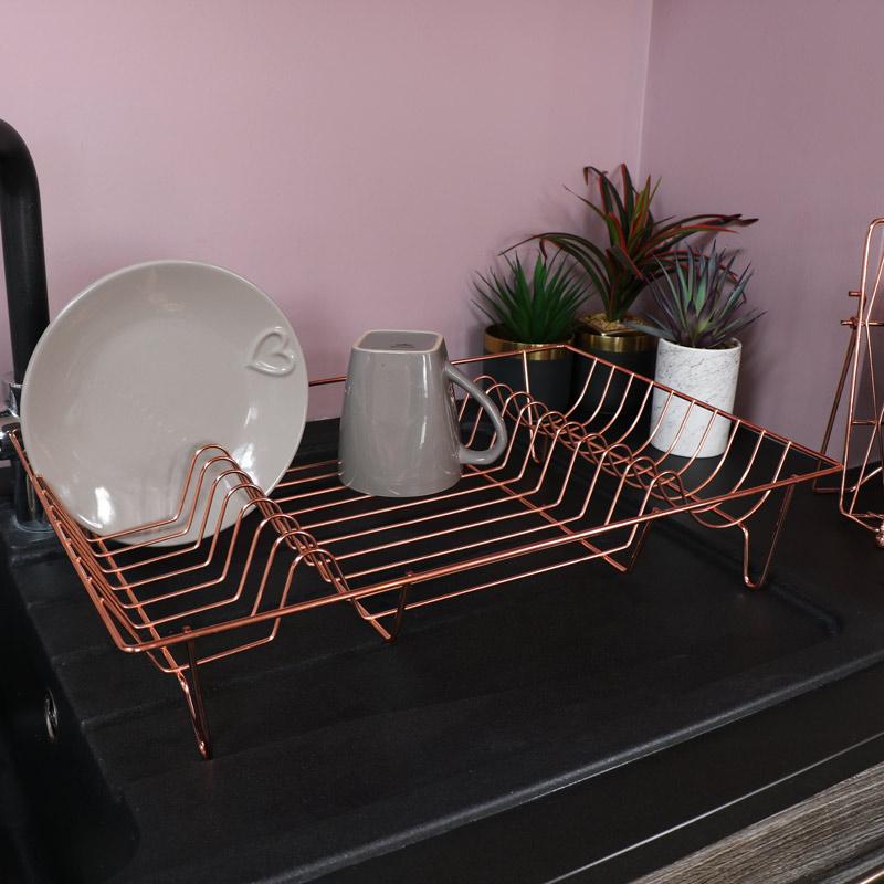 Copper Metal Dish Drainer