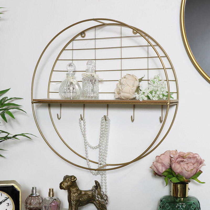 Round Gold Metal Wall Shelf with Hooks