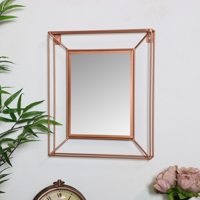 Small Metal Copper Frame Wall Mirror