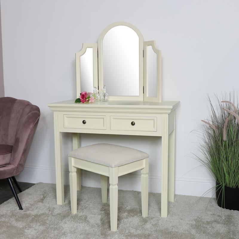 Cream Dressing Table, Mirror & Stool Set - Daventry Cream Range