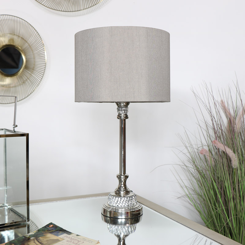 Silver Nickel Table Lamp with Taupe Shade