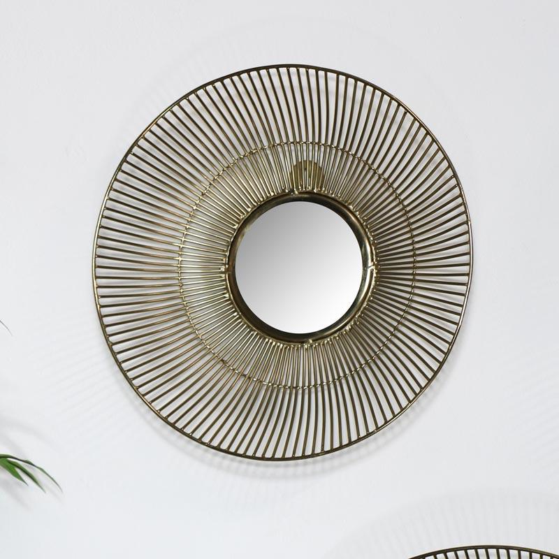 Round Gold Wire Mirror - Small 33.3cm x 33.3cm