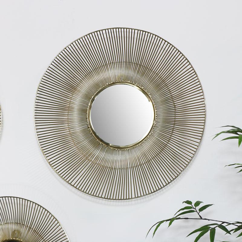 Round Gold Wire Mirror - Large 51.2cm x 51.2cm