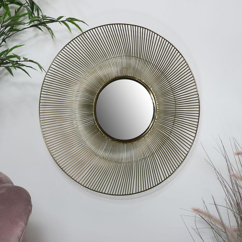 Round Gold Wire Mirror - Medium 41cm x 41cm