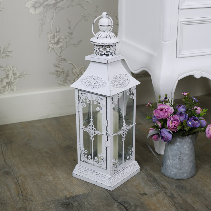 Antique White Vintage Metal Candle Lantern