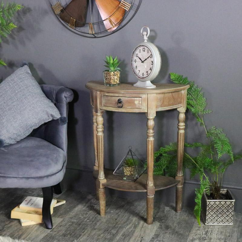 Ashton Range - Natural Drift Wood Half Moon Table