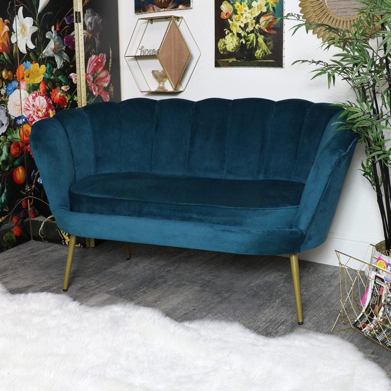Large Teal Blue Velvet Cocktail Sofa