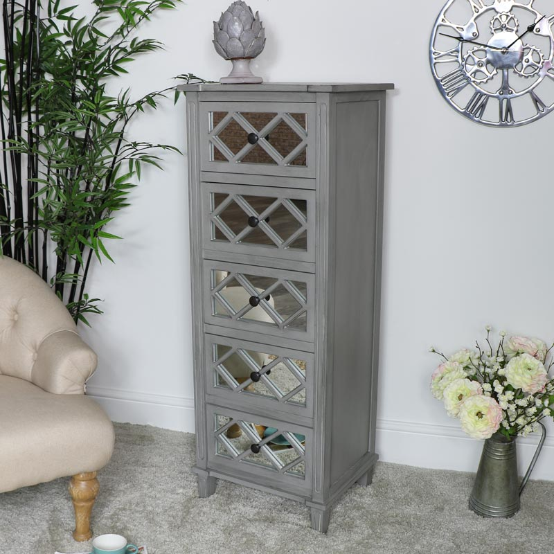 Grey Mirrored Tallboy Chest of Drawers - Vienna Range