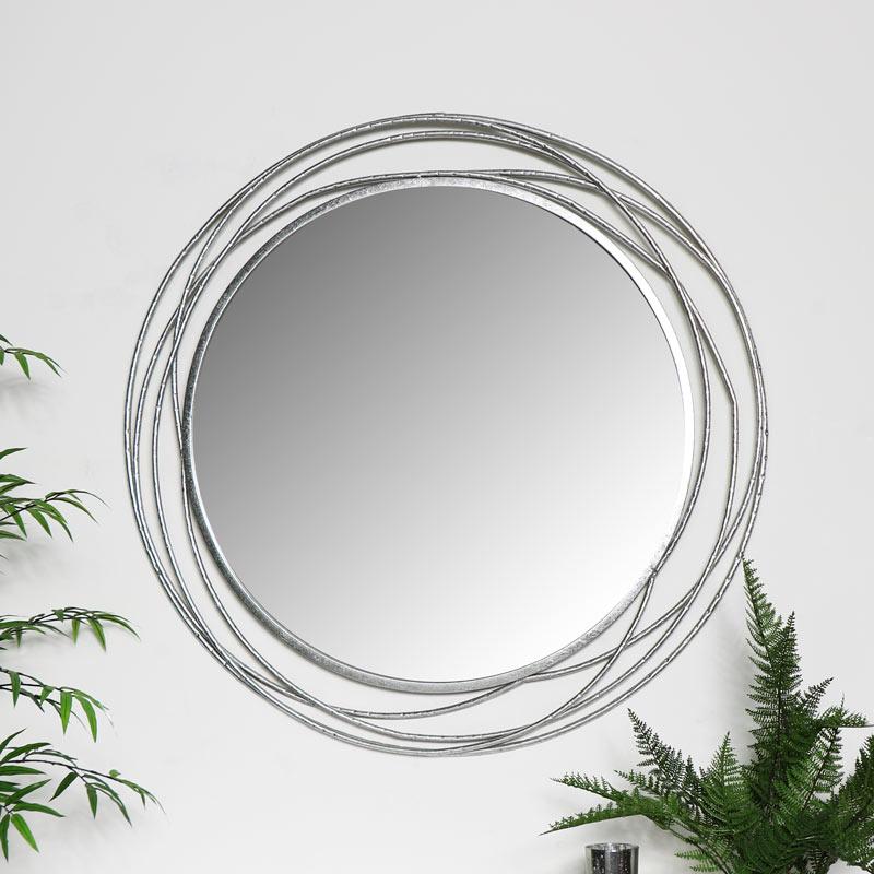 Large Round Silver Swirl Mirror 92cm x 92cm