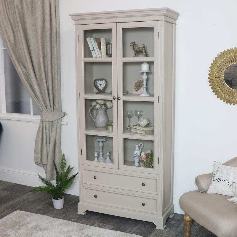 Tall Glazed Display Cabinet - Daventry Taupe-Grey Range