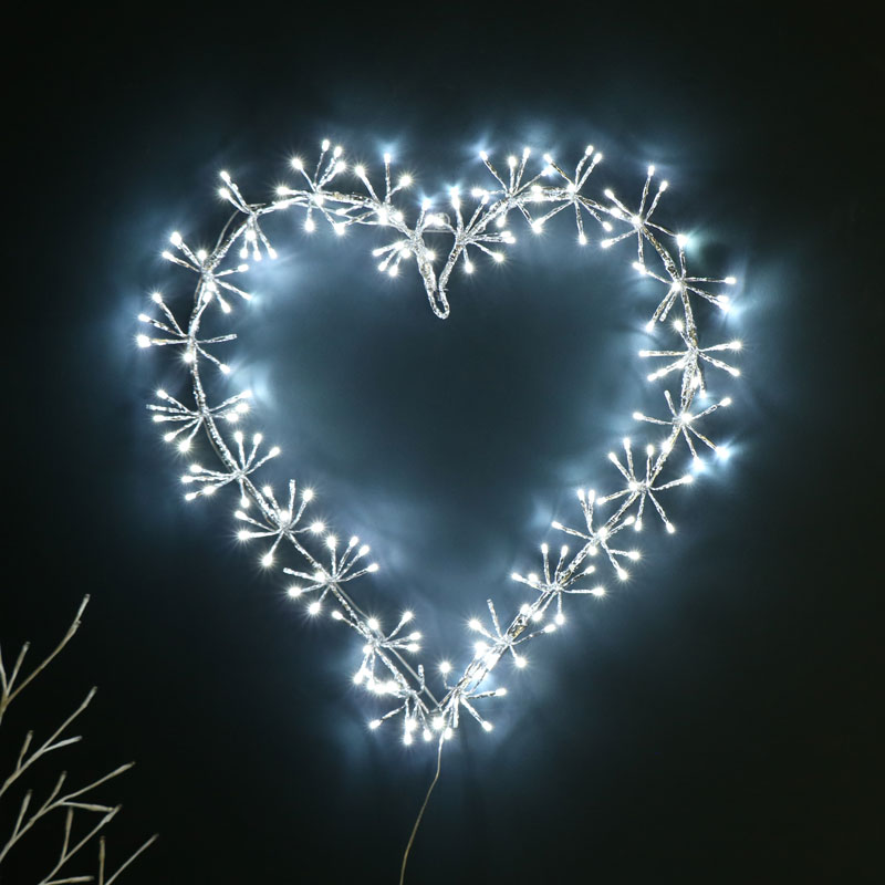 Large Silver LED Heart Christmas Decoration
