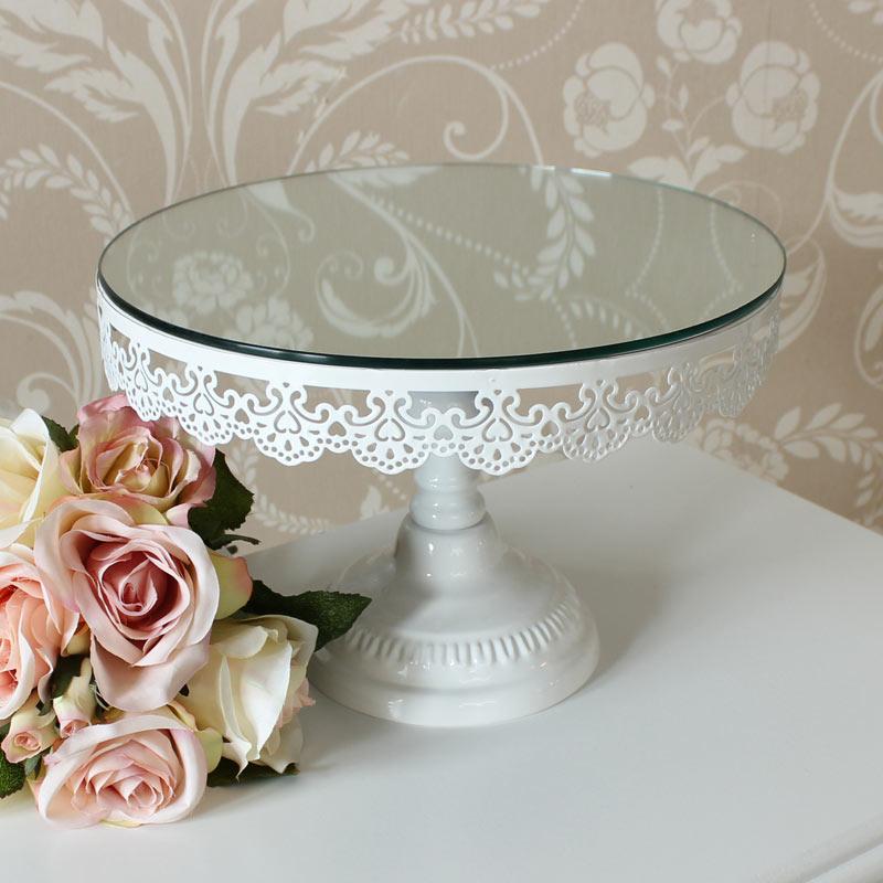 Round White Mirrored Cake Stand