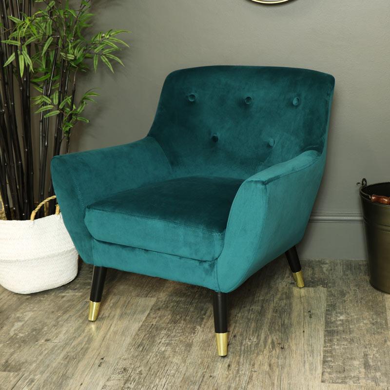 Teal Blue Velvet Upholstered Occasional Chair