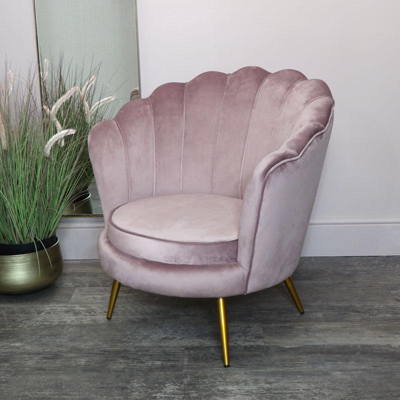 Dusky Pink Velvet Shell Chair