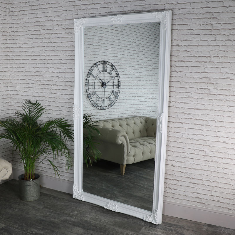Huge Full Length Ornate White Wall/Leaner Mirror 119cm x 220cm