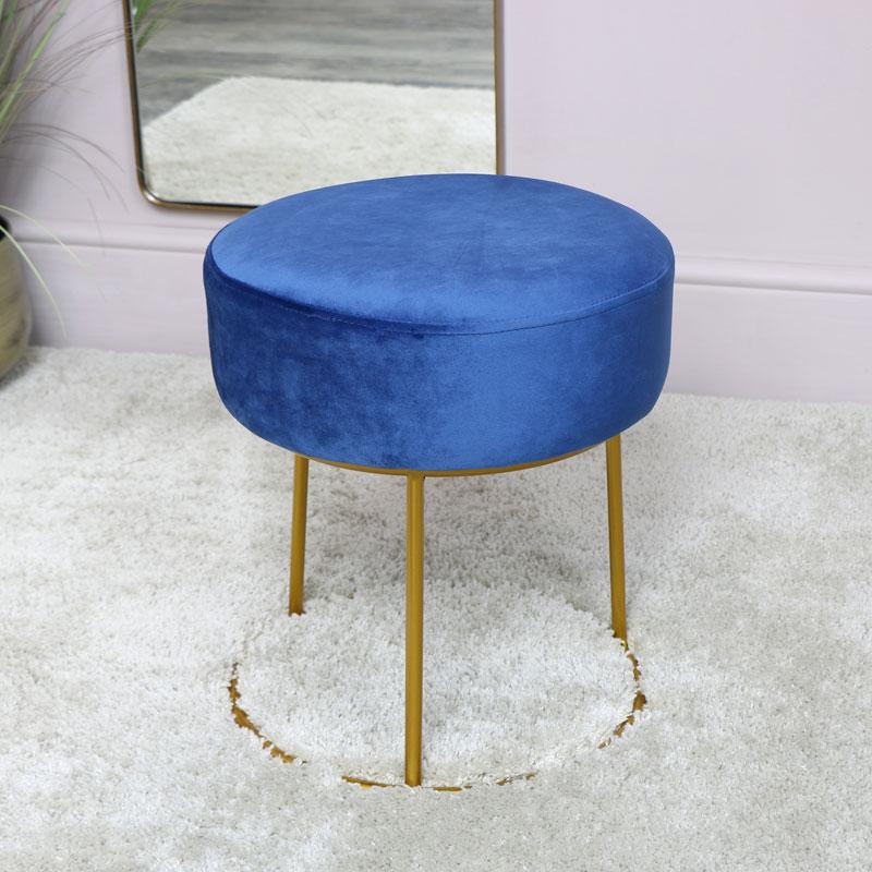 Blue Velvet Stool with Round Gold Base