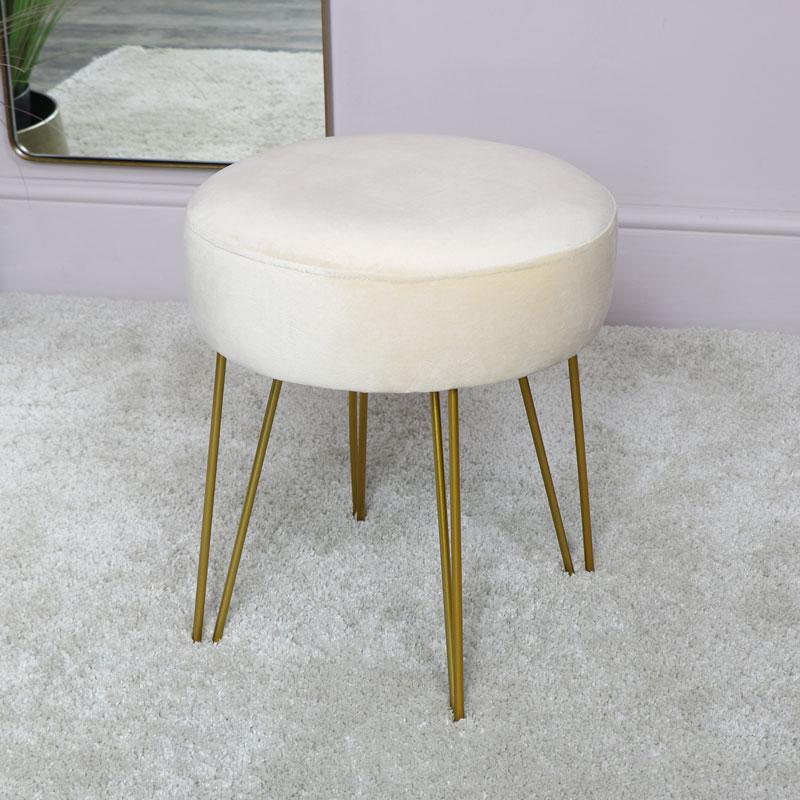 Cream Velvet Stool with Gold Hairpin Legs