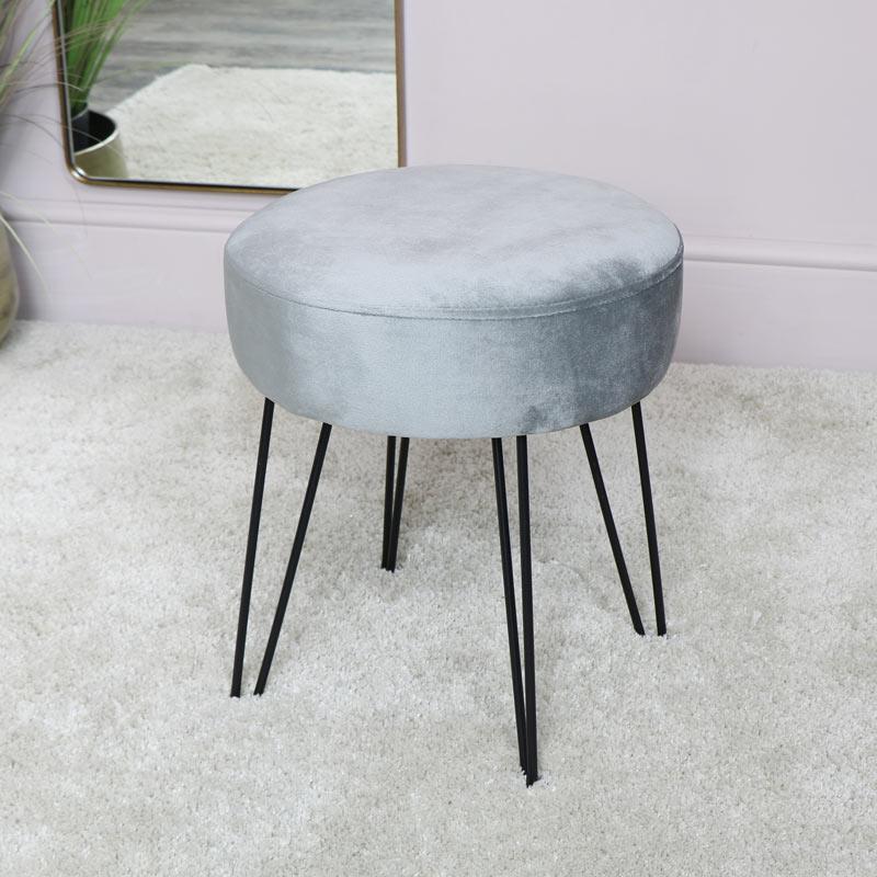 Grey Velvet Boudoir Stool