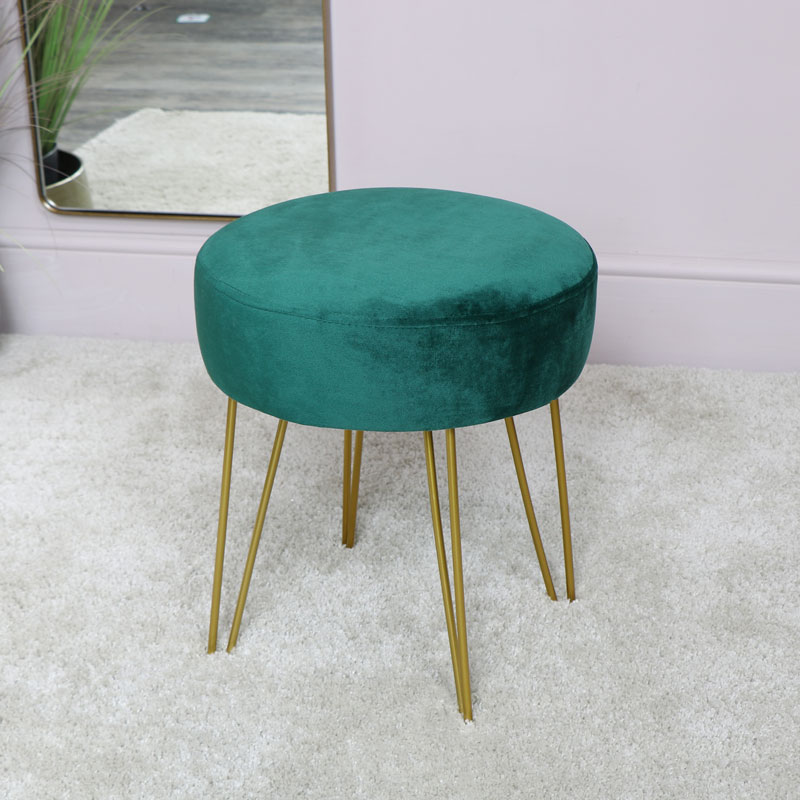 Green Velvet Stool with Gold Hairpin Legs