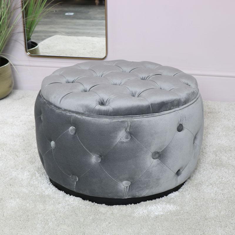Grey Velvet Buttoned Footstool