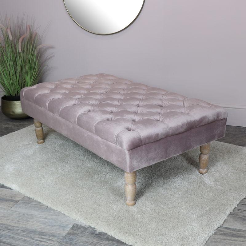 Pink Velvet Upholstered Bench