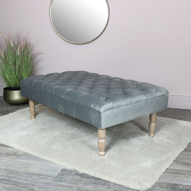 Grey Velvet Upholstered Bench