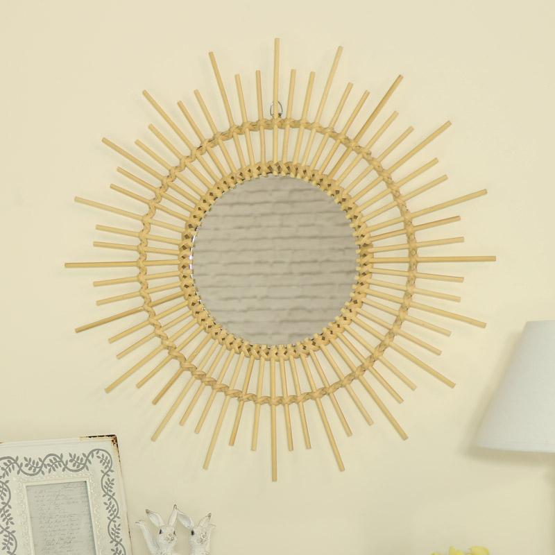 Round Sunburst Wall Mirror in Natural Rattan