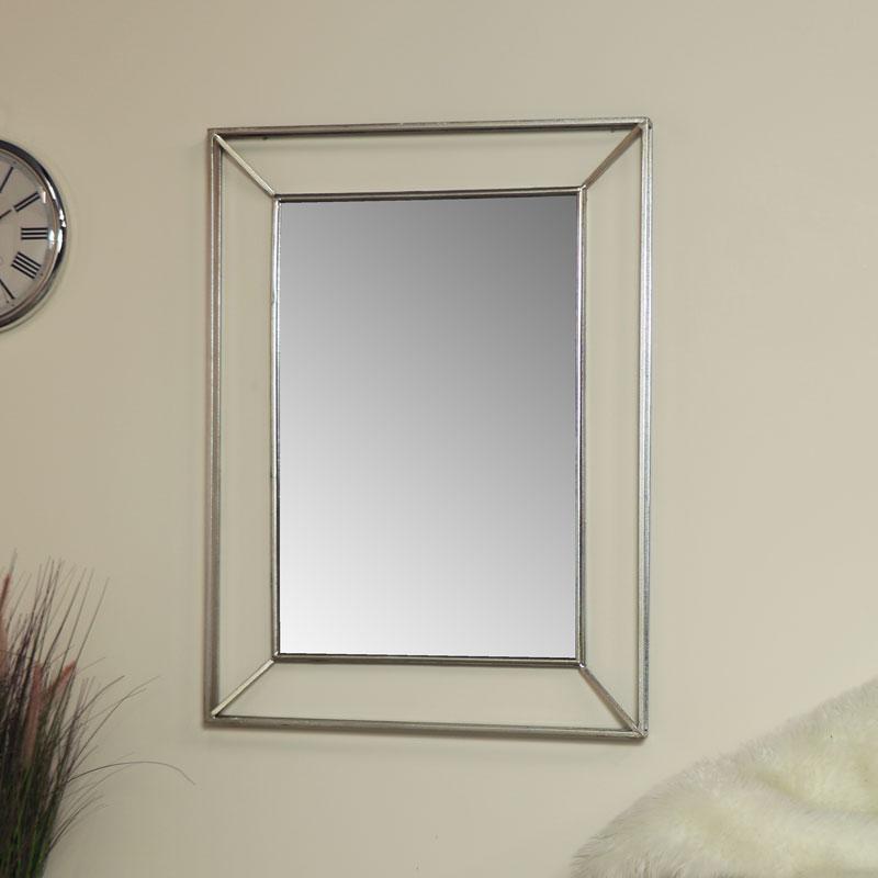 Large Silver Metal Framed Wall Mirror 76cm x 102cm
