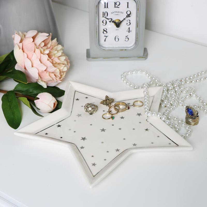 White Ceramic Star Trinket Dish