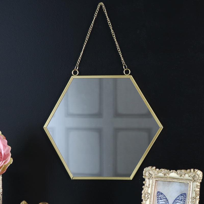 Vintage Gold Hexagonal Wall Mirror