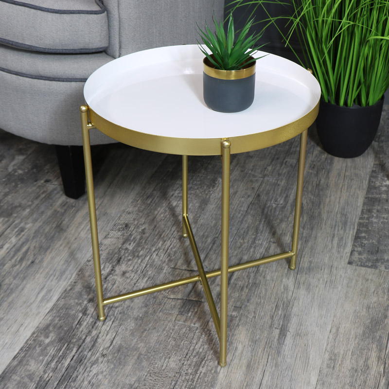 Round White & Gold Folding Metal Occasional Table