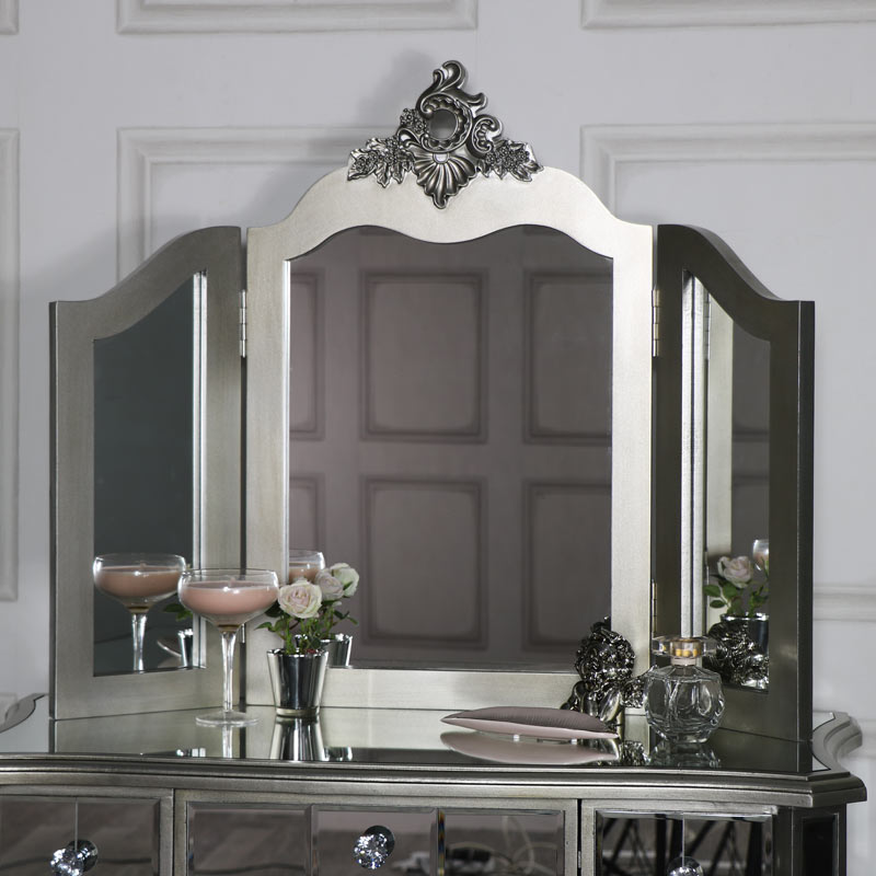 Silver Tabletop Dressing Table Vanity Mirror - Tiffany Range