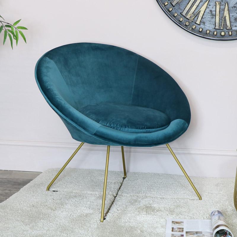 Teal & Gold Velvet Chair