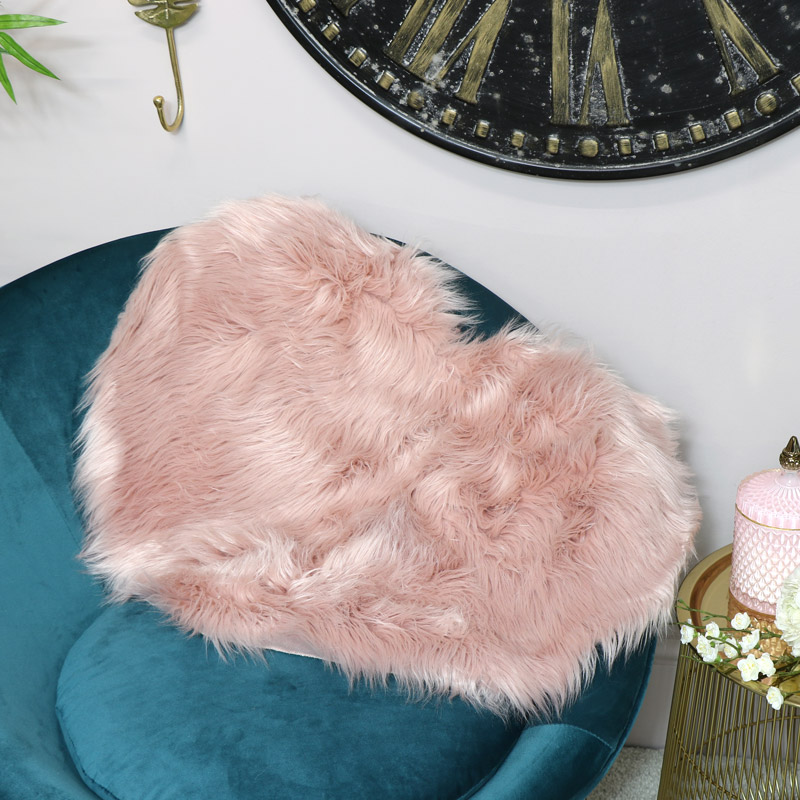 Pink Heart Shaped Faux Fur Rug