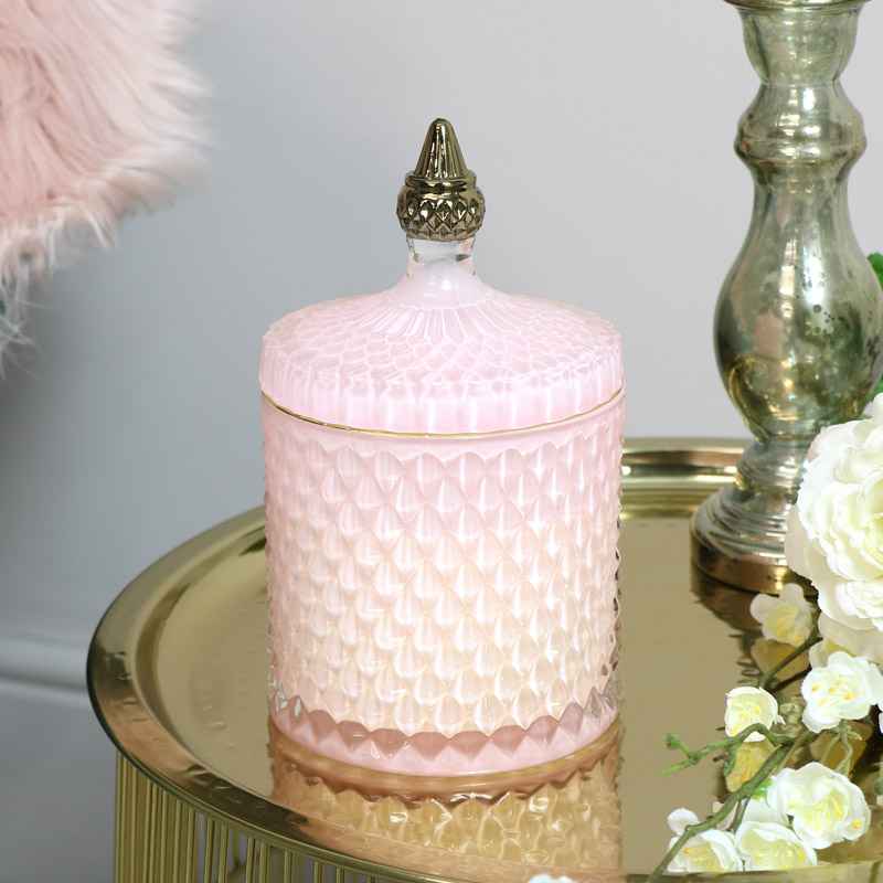 Pink & Gold Glass Candle Pot