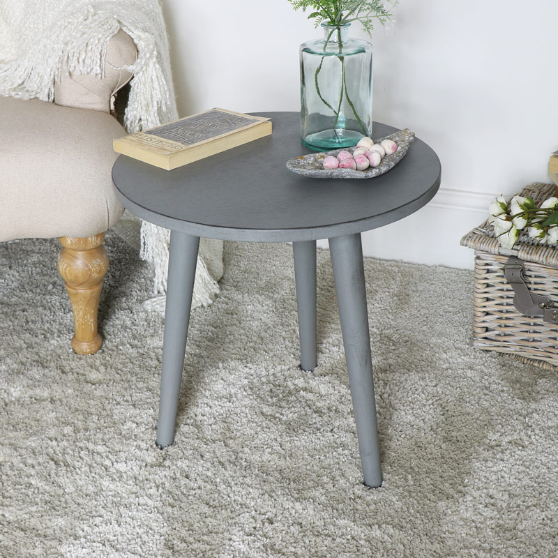 Round Grey Wooden Occasional Table