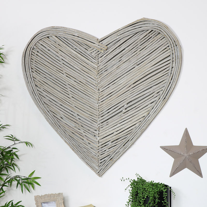 Extra Large Rustic Wicker Wall Heart