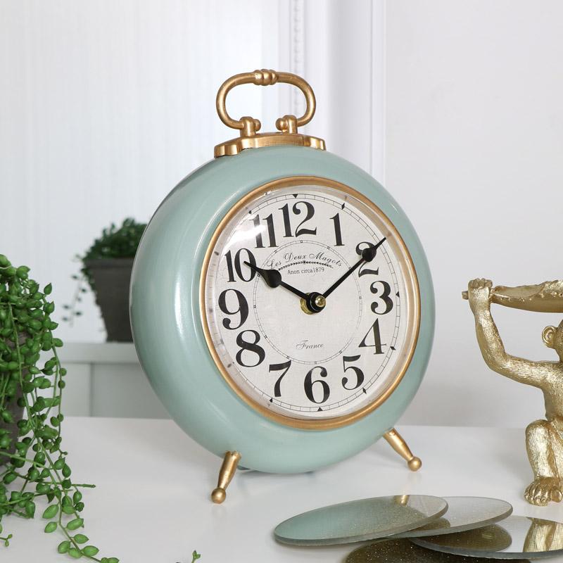Round Green & Gold Mantel Clock