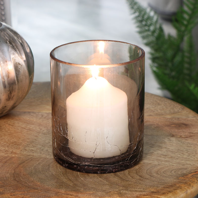 Smoked Grey Crackle Glazed Glass Candle Holder