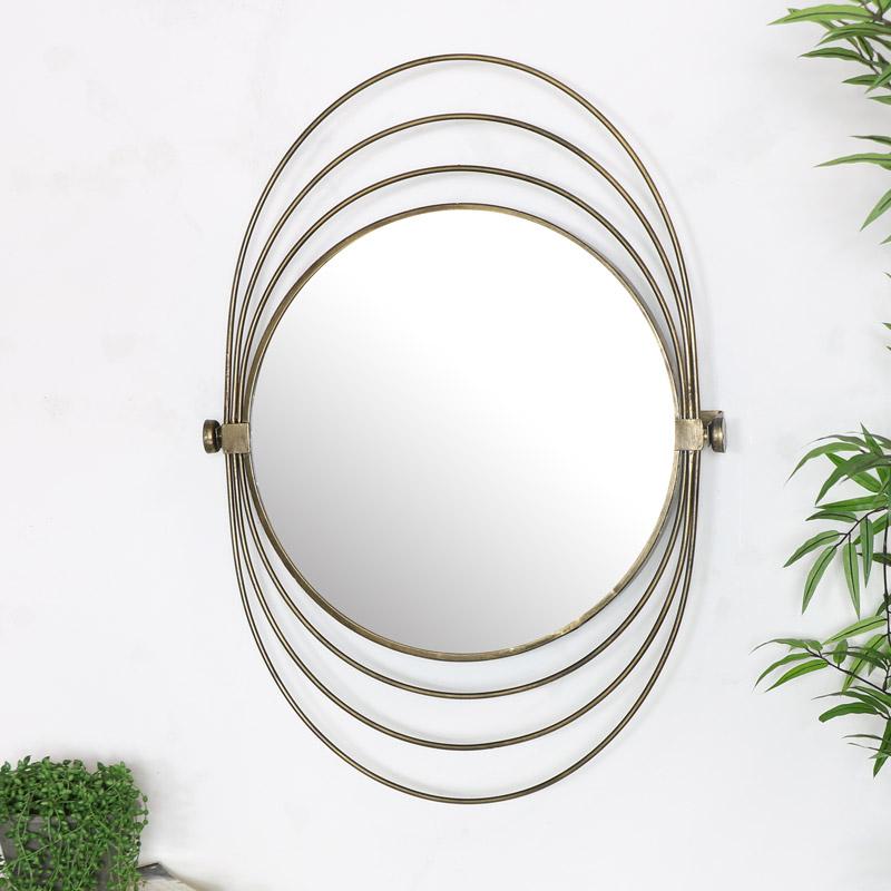 Round Gold Swivel Wall Mirror