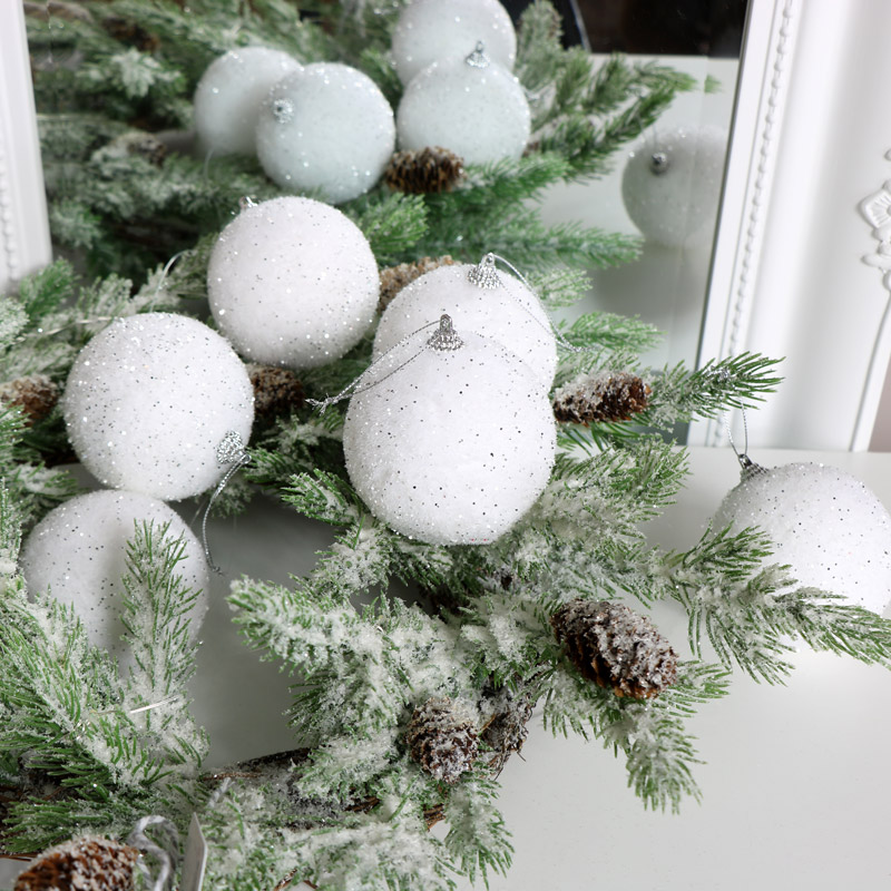 Set of 6 White Glitter Christmas Baubles