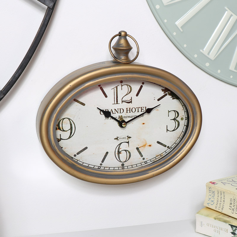 Vintage Gold Oval Wall Clock