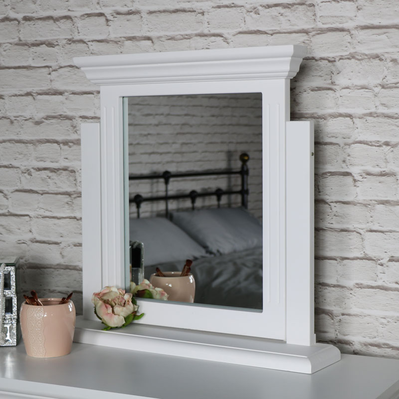 White Tabletop Vanity Swing Mirror - Daventry White Range