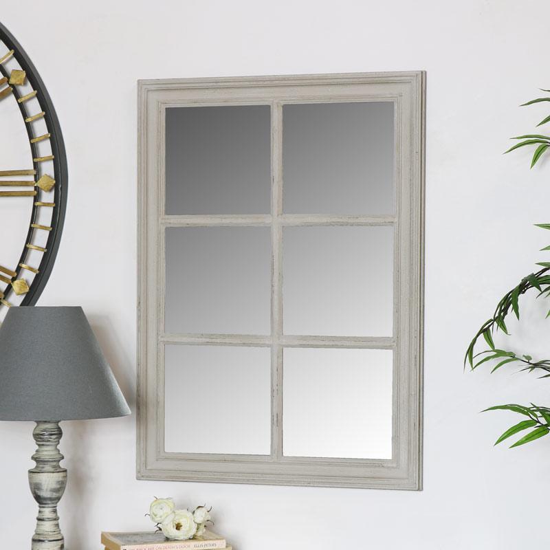 Rustic Grey Window Style Wall Mirror 50cm x 70cm