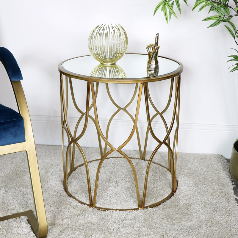 Gold Mirrored Side Table