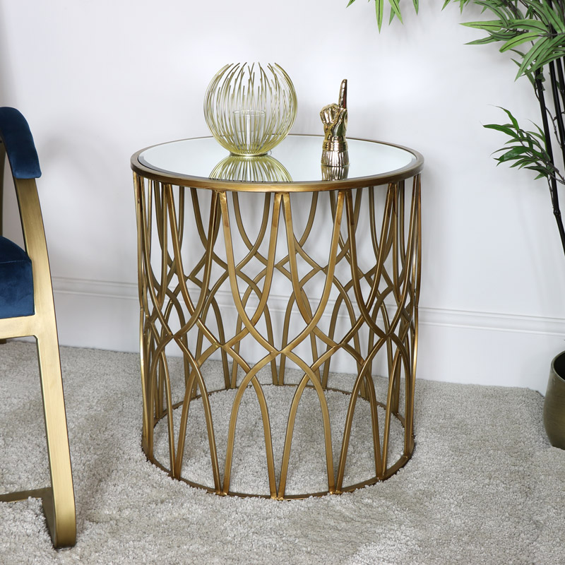 Gold Mirrored Ornate Side Table